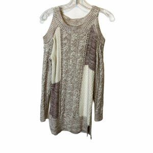 Knox Rose Cable Knit Cold Shoulder Sweater S